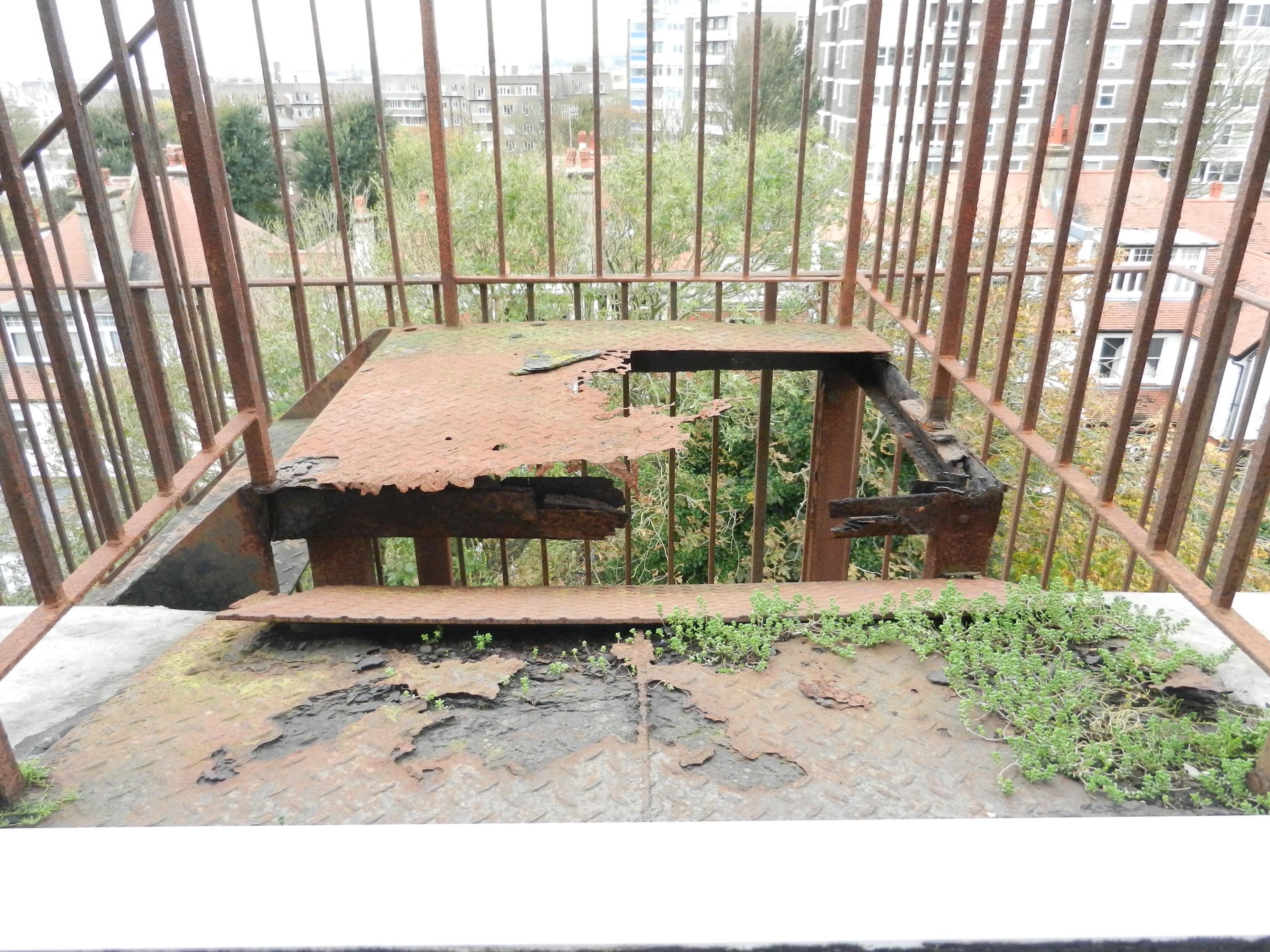 corroded fire escape