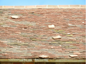 Roof with missing tiles
