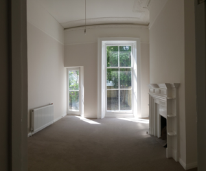 Refurbished Regency living room, light enters through large windows