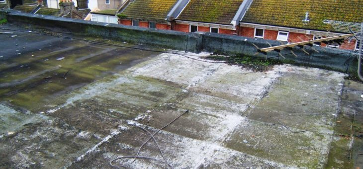 Cracked asphalt on roof